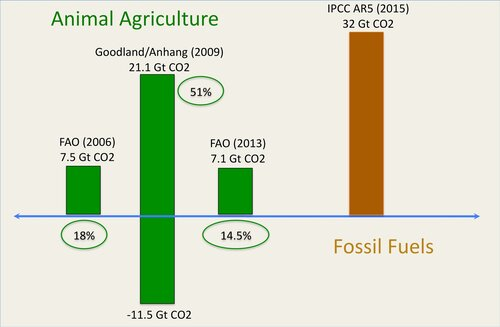 Fig. 4.4. Lifecycle emissions of Animal Agriculture as measured by the UN FAO (two versions) and World Bank scientists, Goodland and Anhang, in comparison with the total CO2 emissions from fossil fuel sources.